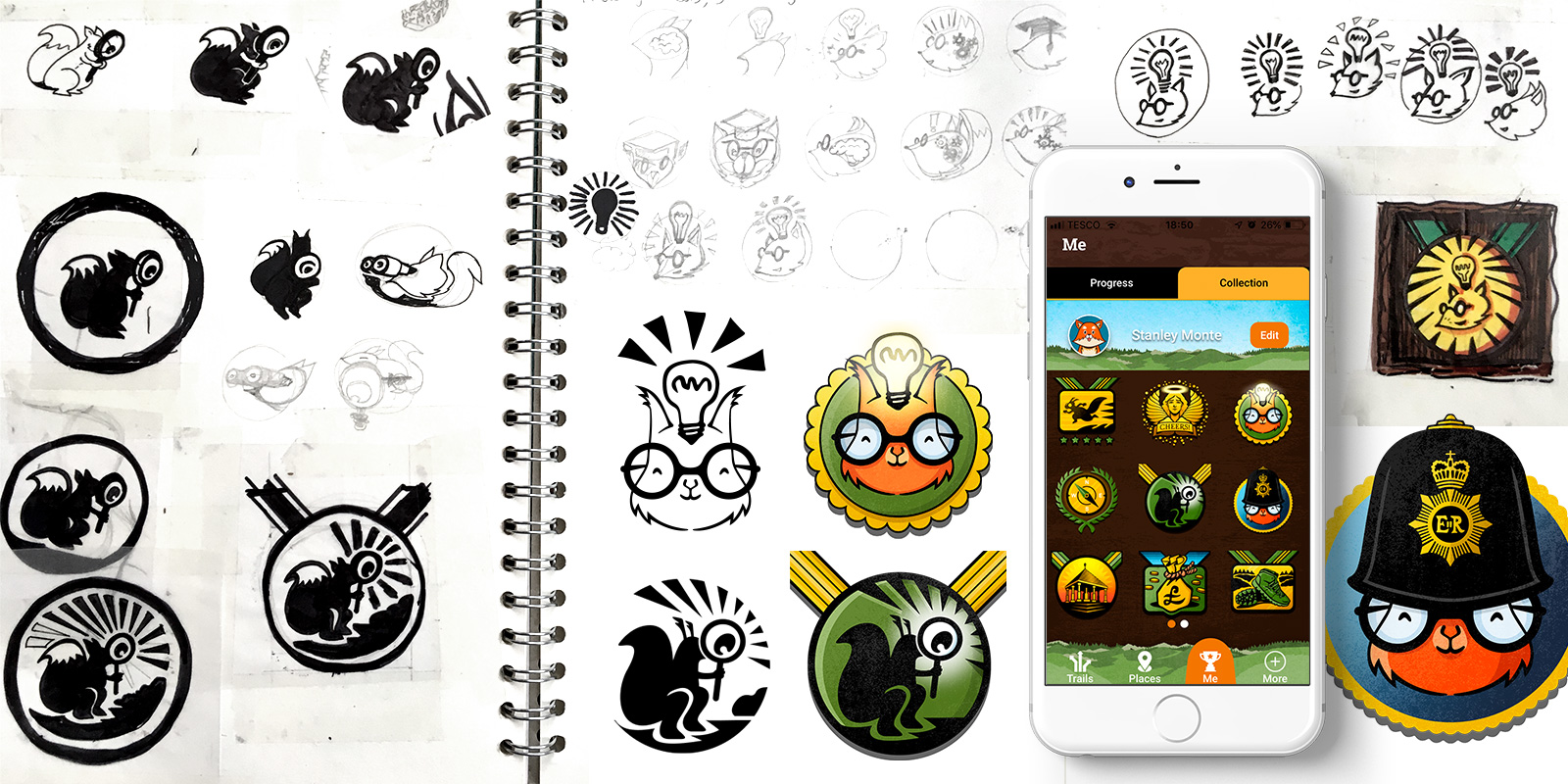 Sketches and designs of the rewards and badges users can collect whist using the Alston Explorer App